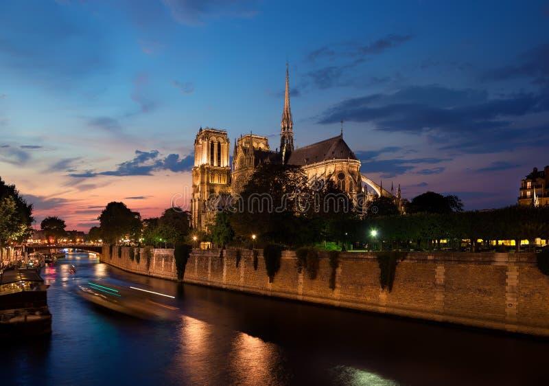 Notre Dame i afton royaltyfria foton