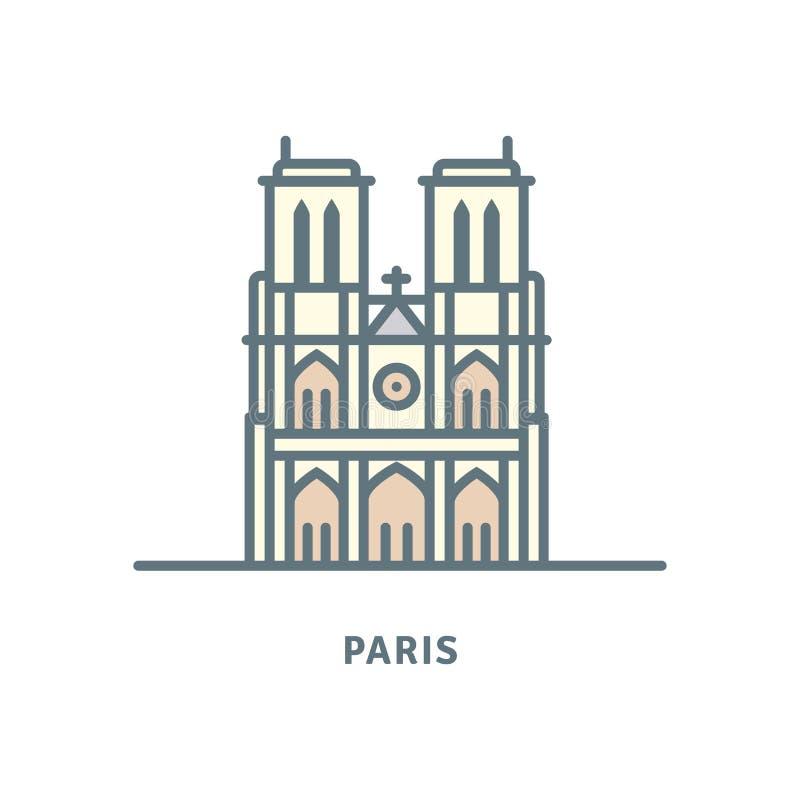 Notre-Dame katedra przy Paryską wektorową ilustracją ilustracja wektor