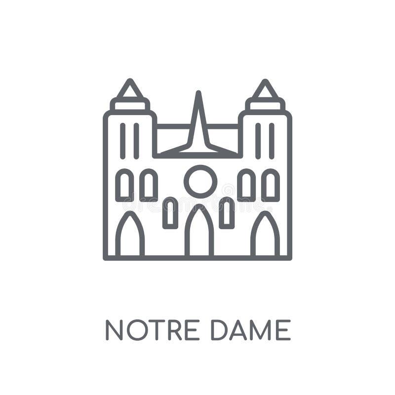 Notre Dame linjär symbol Modern nolla för begrepp för översiktsNotre Dame logo stock illustrationer
