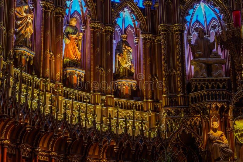 Notre Dame Montreal, inre detalj royaltyfria bilder