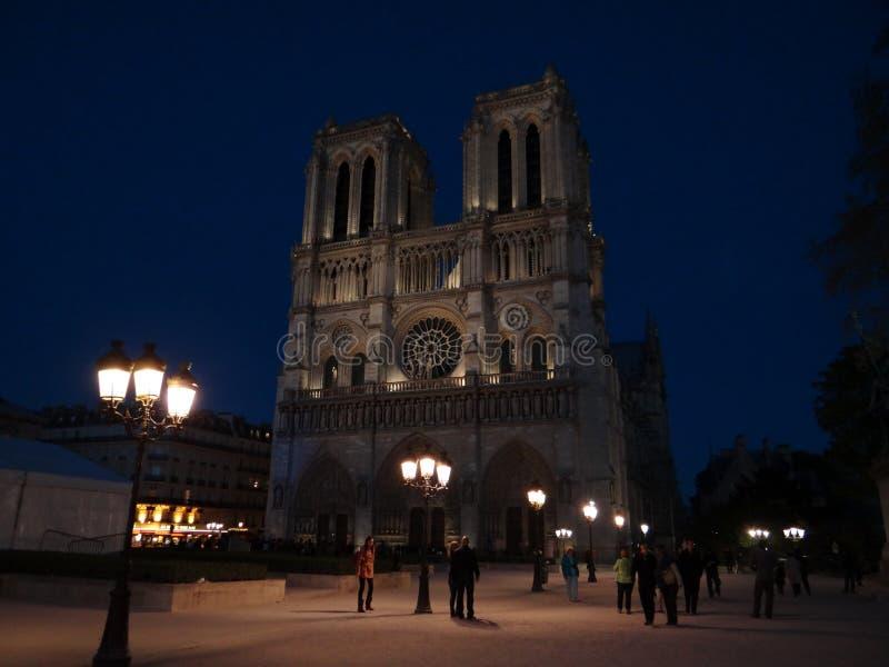Notre Dame på natten royaltyfria bilder
