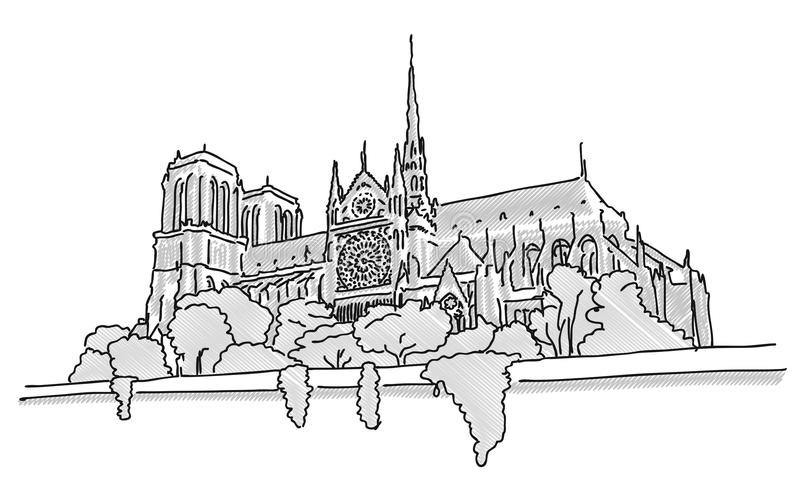 Notre Dame Paris, den drog handen skissar vektor illustrationer