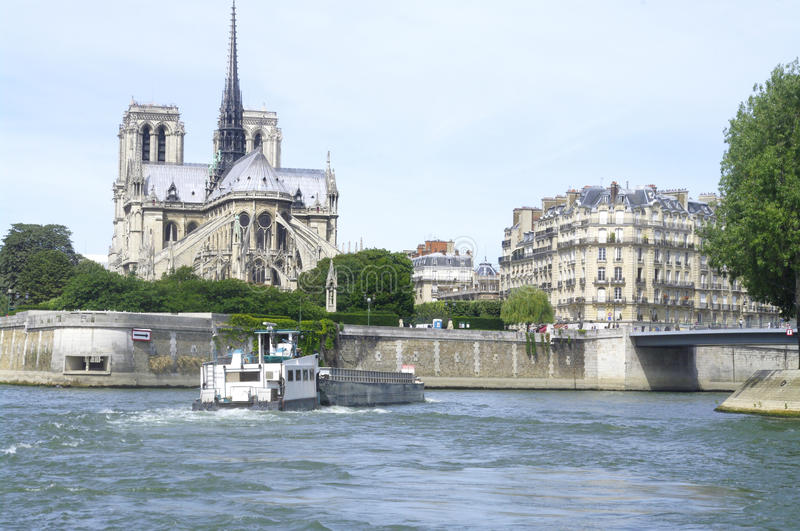 Notre Dame of Paris, Island of the City and St.Louis Island stock image