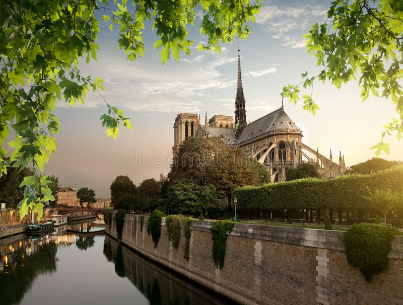 Notre Dame and park. On river Seine in Paris, France stock photo