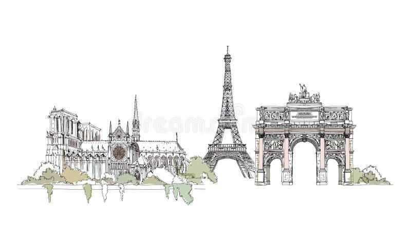 notre dame Paryża Thriumph łuk i wieża eifla, nakreślenie kolekcja