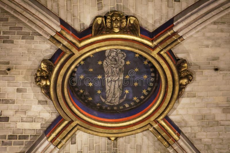 Notre Dame-plafonddetail royalty-vrije stock afbeeldingen