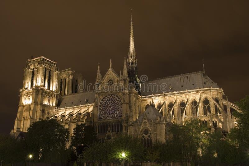 Notre Dame por noche fotografía de archivo libre de regalías