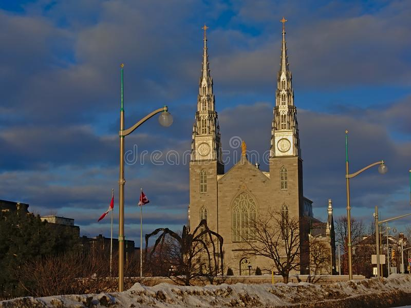 Notre-Dame Cathedral on a cold winter day in Ottawa royalty free stock image