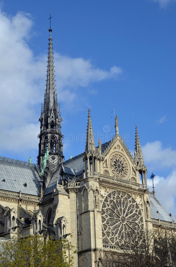 Notre Dame, side view, paris royalty free stock photos