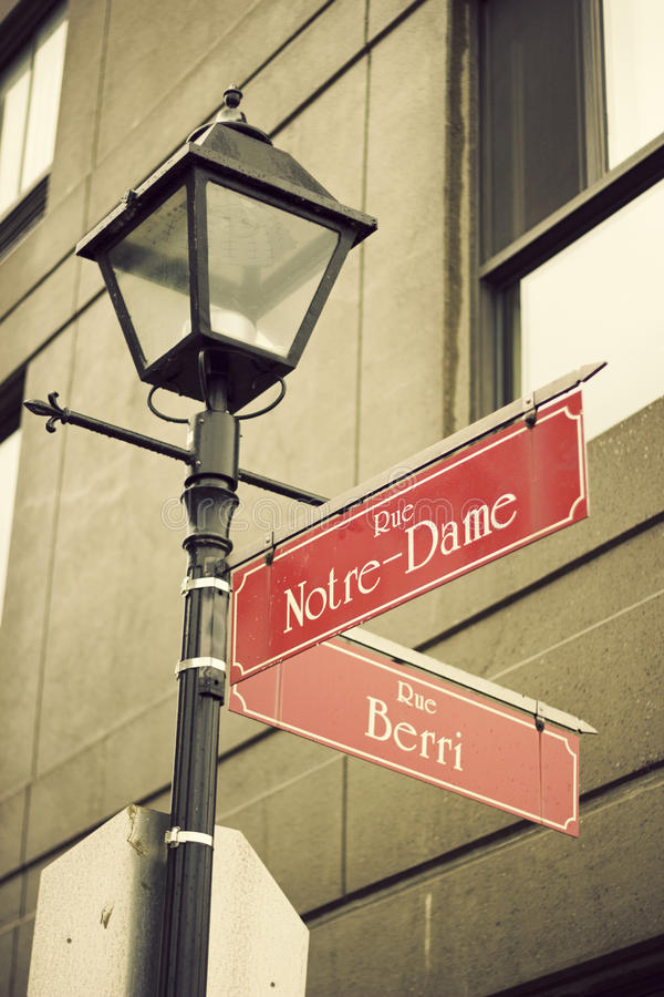 Notre-Dame Street in Montreal stock photo