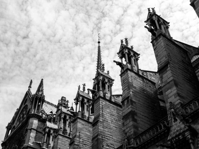 Notre Dame takkontur royaltyfri foto
