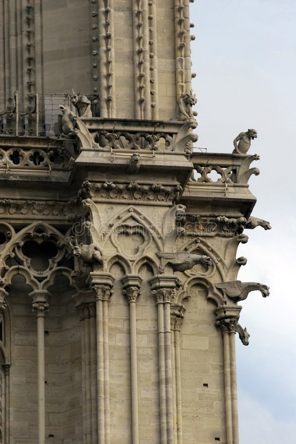 Notre Dame tower detail. stock image
