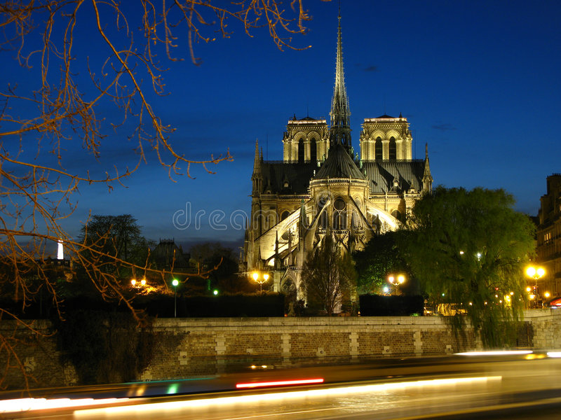 Notre-Dame at twilight stock photos