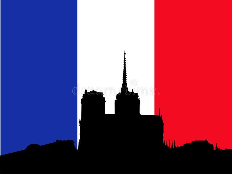 Notre Dame und französische Markierungsfahne lizenzfreie abbildung