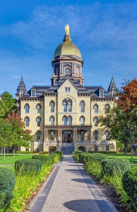 Main Administration Building on the Campus of Notre Dame University. NOTRE DAME, IN/USA - OCTOBER 19, 2017: Main Administration Building known as the `Golden royalty free stock photography