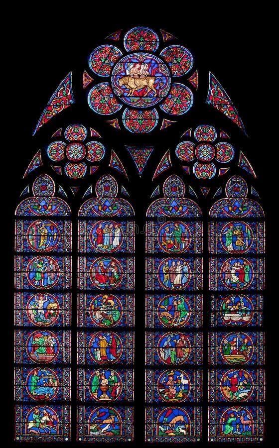 Notre Dame van het Venster van het Gebrandschilderd glas van Parijs stock foto's
