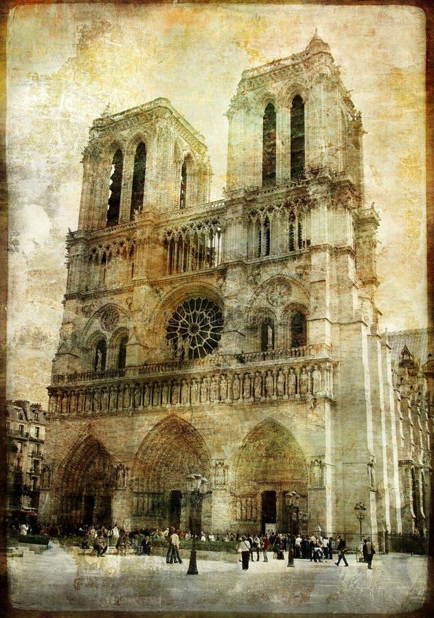 Notre Dame velho ilustração do vetor