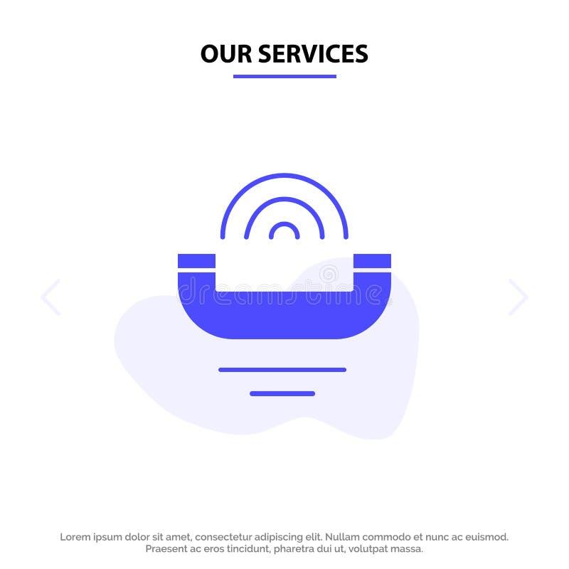Notre dispositif de services, aide, productivité, appui, ferme calibre de carte de Web d'icône de Glyph de téléphone illustration stock