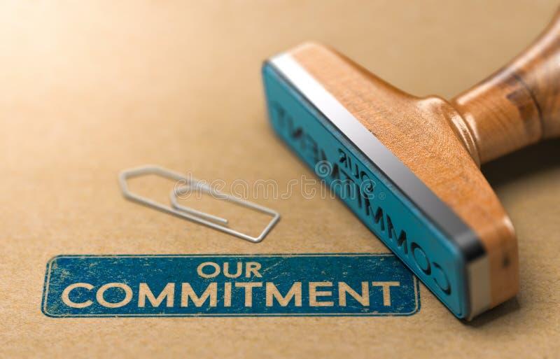 Notre engagement, concept de tampon en caoutchouc illustration libre de droits