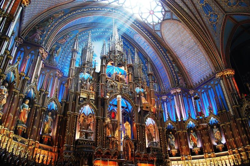 notre för basilicadame montreal arkivfoton