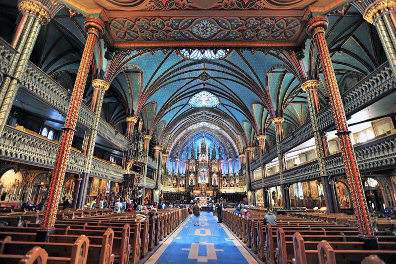 notre för basilicadame montreal royaltyfria bilder