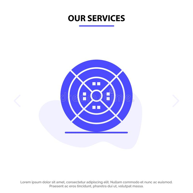 Notre film de services, filament, impression, calibre solide de carte de Web d'icône de Glyph d'impression illustration de vecteur
