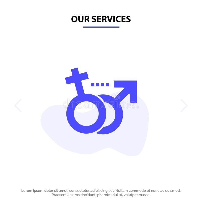 Notre genre de services, masculin, femelle, calibre solide de carte de Web d'icône de Glyph de symbole illustration libre de droits