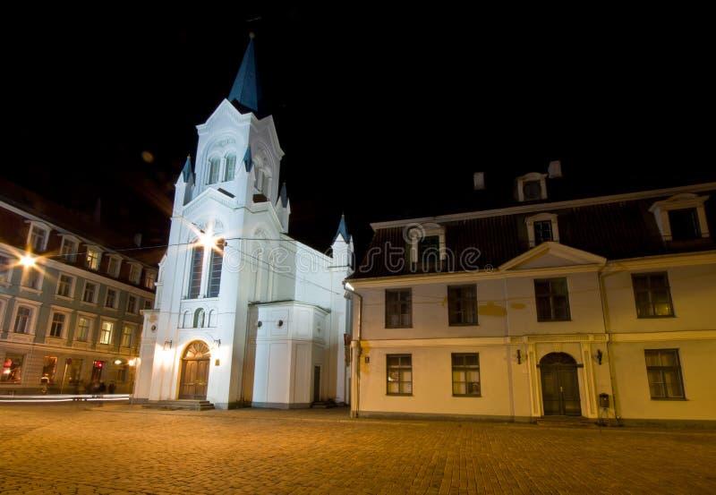Notre Madame d'église de douleurs à Riga images libres de droits