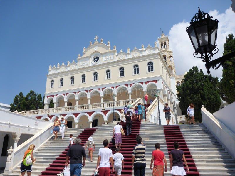 Notre Madame d'église de Tinos, Tinos photo libre de droits