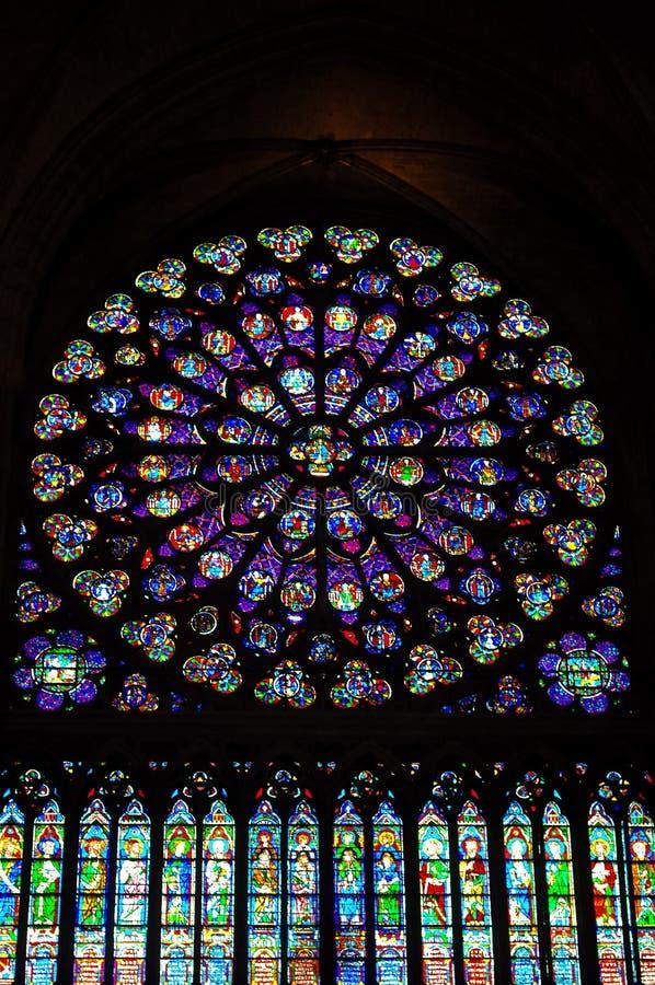 Notre paniusi De Paryż witraży okno zdjęcie stock