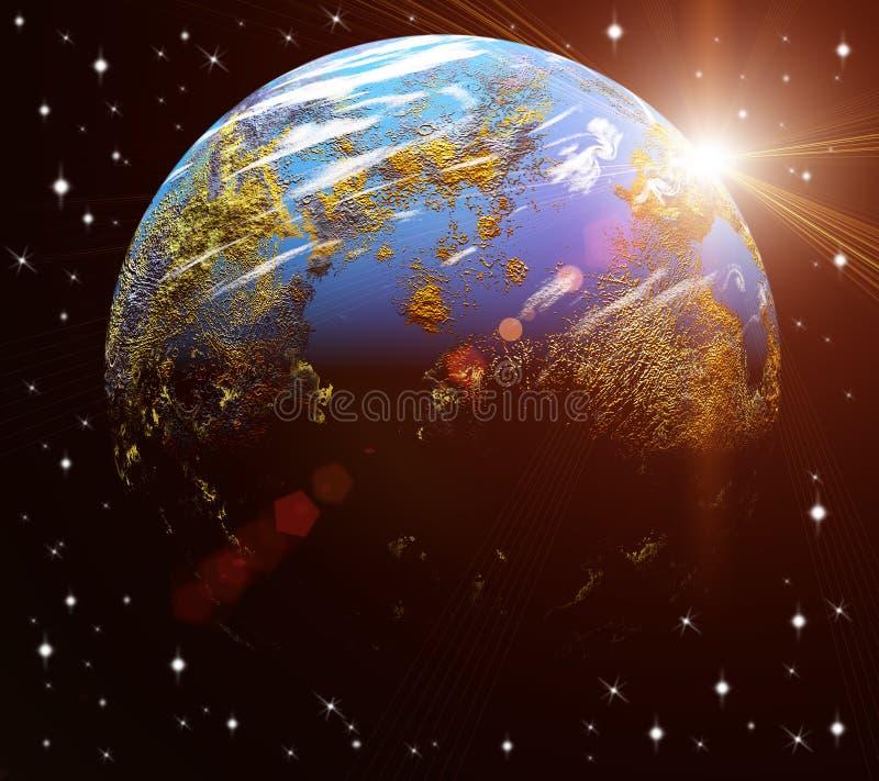 Notre terre en cosmos et soleil lumineux Éléments de photo stock