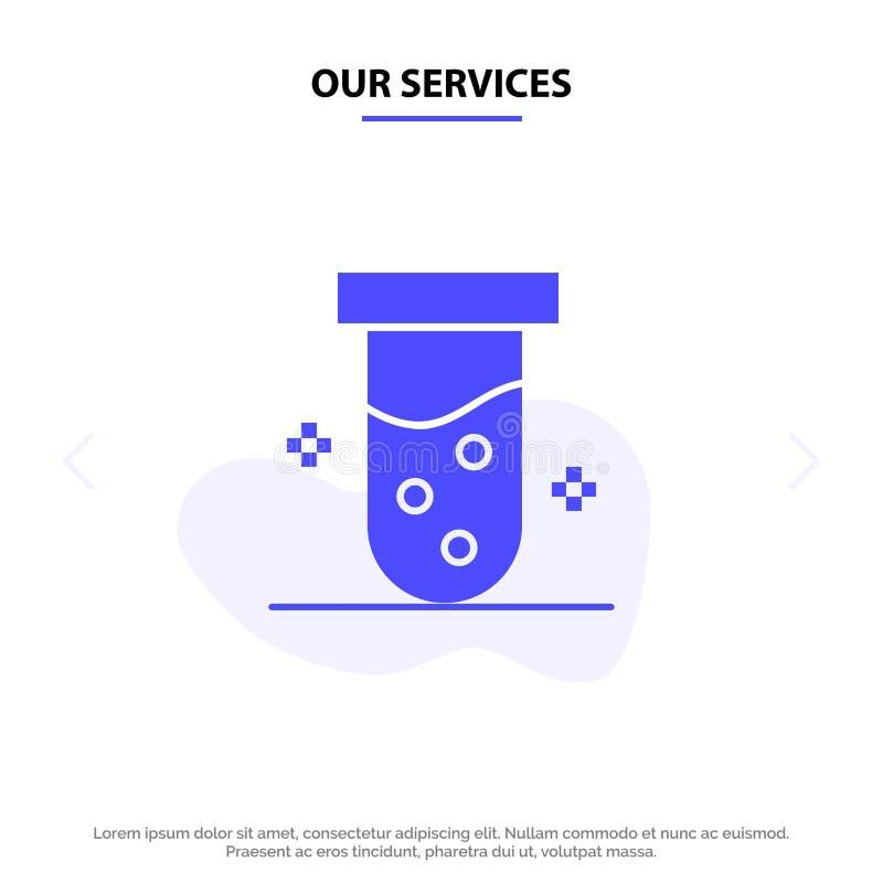 Notre tube de services, laboratoire, essai, calibre solide de carte de Web d'icône de Glyph de biochimie illustration libre de droits