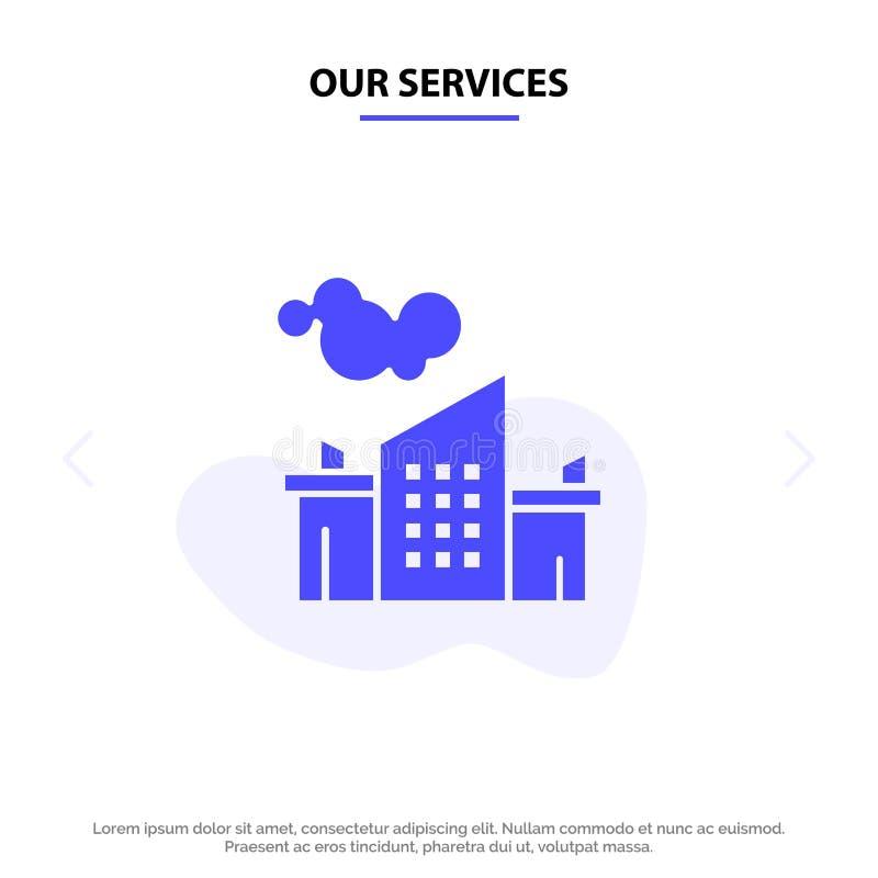 Notre usine de services, industrie, paysage, calibre solide de carte de Web d'icône de Glyph de pollution illustration stock
