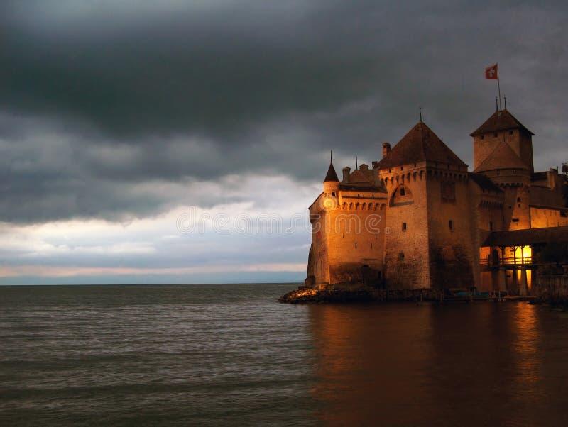 Notte 07, CH del castello di Chillon immagine stock libera da diritti