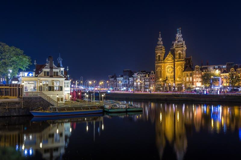 Notte Amsterdam fotografia stock libera da diritti