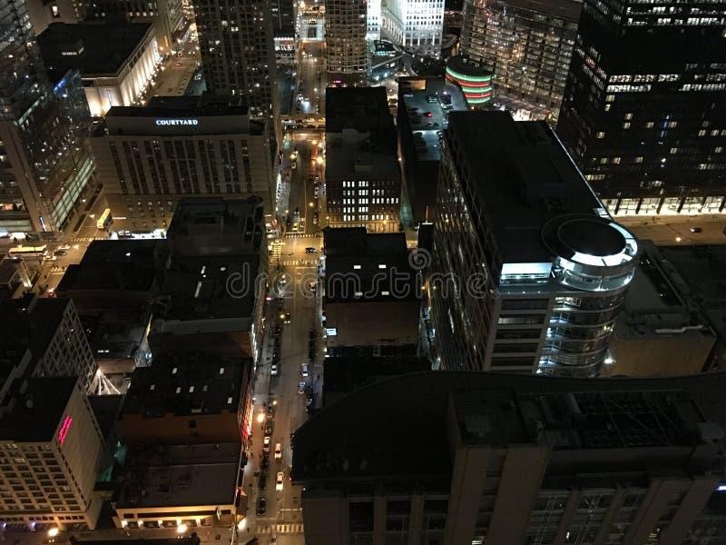 Notte in Chicago fotografia stock