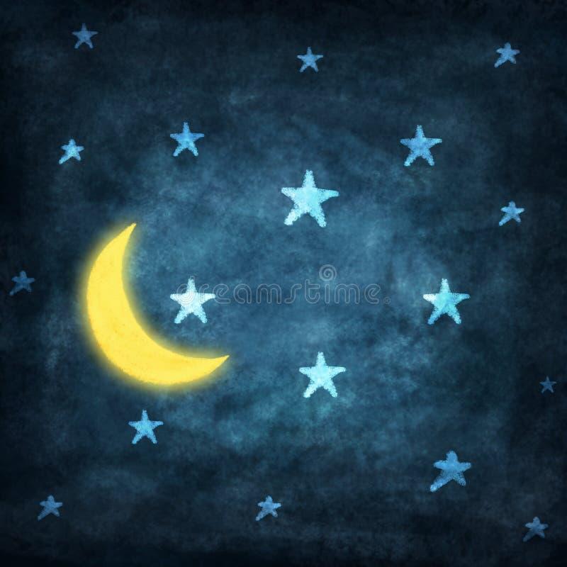 Notte con le stelle e la luna royalty illustrazione gratis