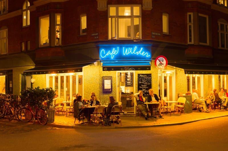 Notte Copenhaghen del ristorante della via della gente immagini stock