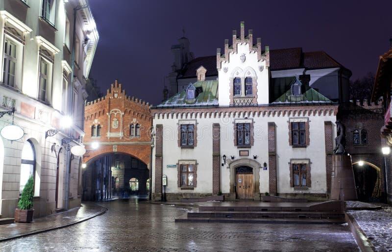 Notte Cracovia fotografia stock