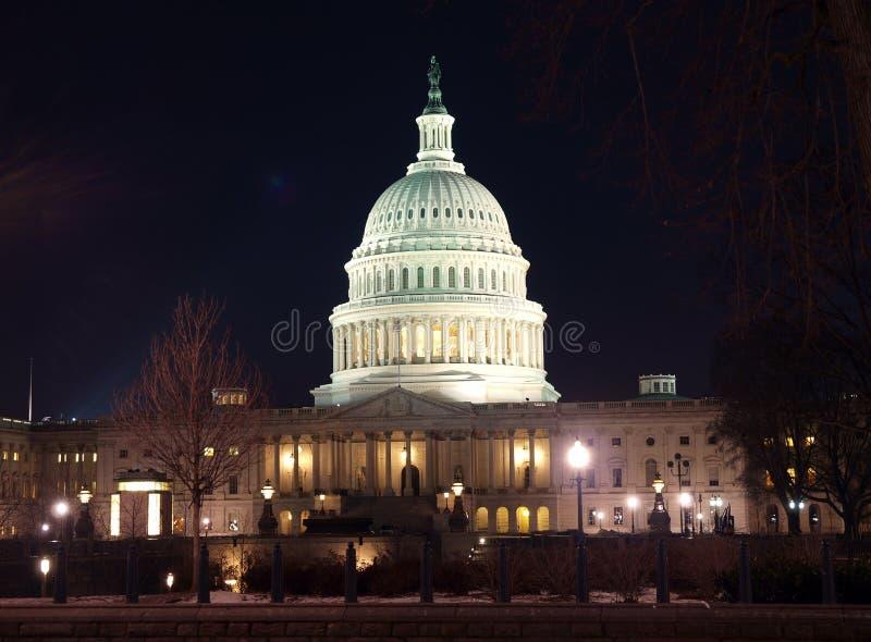 Notte degli Stati Uniti Campidoglio immagini stock libere da diritti