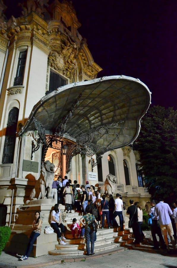 Notte dei musei a Bucarest - George Enescu National Museum fotografia stock libera da diritti