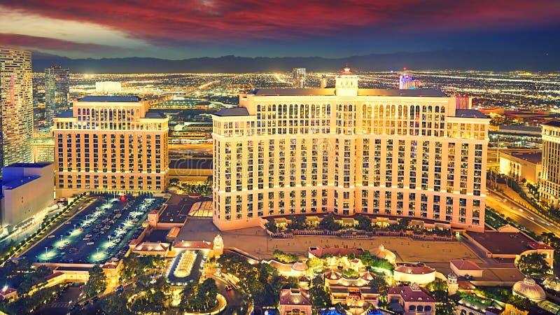 Notte dell'orizzonte di Las Vegas fotografie stock libere da diritti