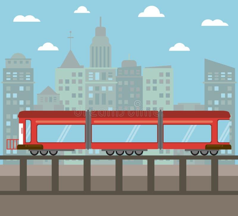 notte della città di trasporto del treno illustrazione vettoriale