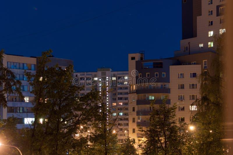 Notte della città, luci di Mosca fotografie stock