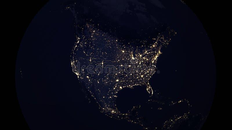Notte delle luci della città della mappa di U.S.A. illustrazione vettoriale