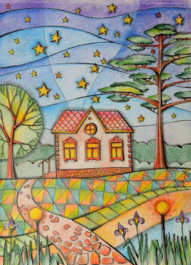 Notte di estate in villaggio Piccola casa di campagna nel giardino Bello paesaggio con gli alberi ed il cielo stellato illustrazione di stock