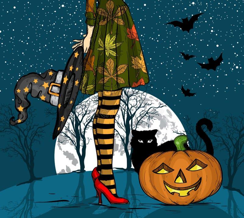 Notte di Halloween Strega con il cappello dello stregone a disposizione, il gatto nero e la zucca, grande luna su fondo royalty illustrazione gratis