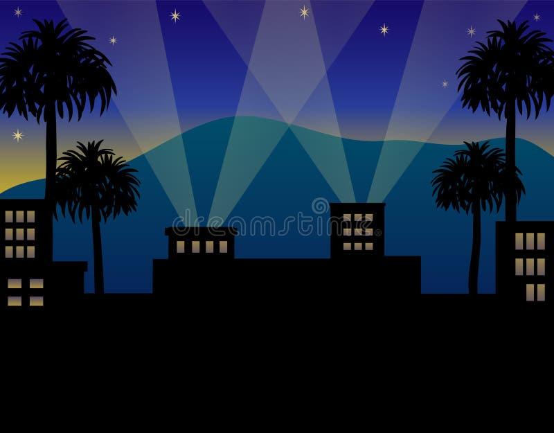 Notte di Hollywood illustrazione vettoriale