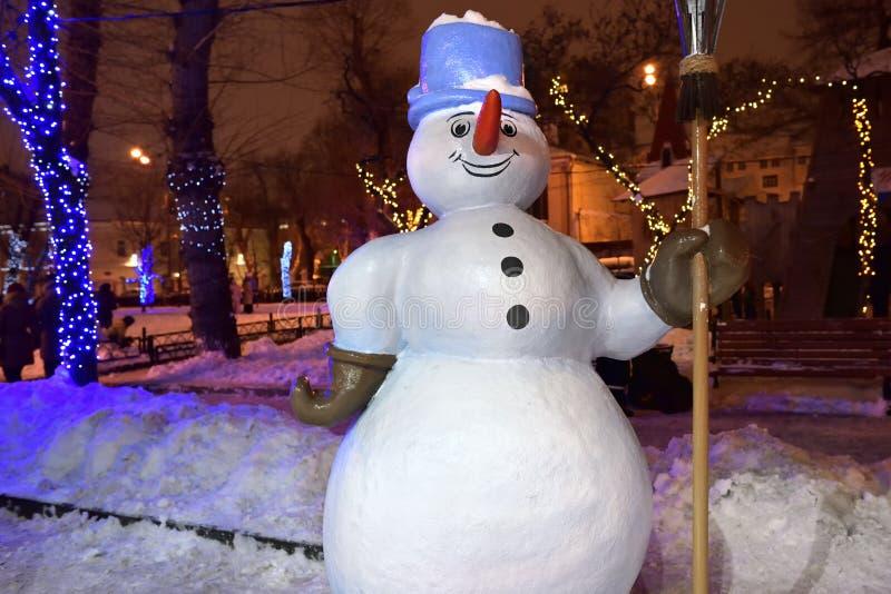 Notte di inverno nella città Mosca, Russia immagine stock