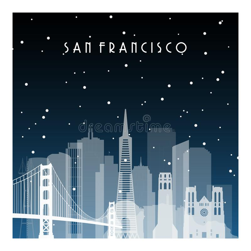 Notte di inverno a San Francisco illustrazione di stock